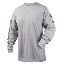 Revco Black Stallion Gray 7 Oz Fr Cotton Knit Long Sleeve T Shirt Size Medium