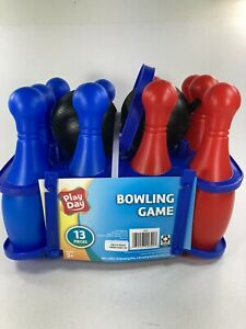 Play Day Kid Bowling Game Set 13 Piece Includes 10 Pins 2 Balls & Case (NEW)