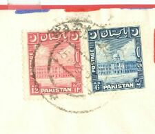Pakistan Building 6a + 12a Left Crescent used on cover to USA