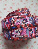 1M x DC Super Hero Girls Harley Quinn GROSGRAIN RIBBON Craft Hair Bows 22MM