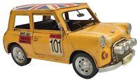Vintage Classic British Mini Yellow Retro Car Tin Metal 29cm Length Collectible