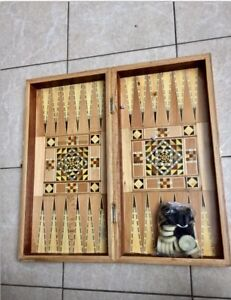 Backgammon Game Board Mother Pearls Inlaid