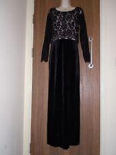 Next schwarz lange Ärmel Spitze Samt Kleid Größe 8UK/36 EU