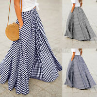ZANZEA Women Casual Plaid Check High Waisted Skirt Pleated Long Maxi Skirt Dress