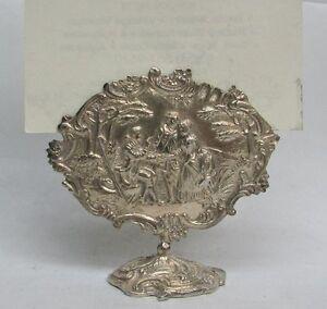 RARE 19th CENTURY DUTCH SILVER HEAD TABLE MARRIAGE SCENE PLACE CARD HOLDER