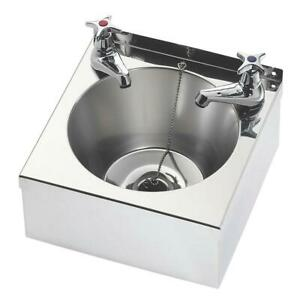 Franke Wall Mounted Wash Basin + 2 Taps 1 Bowl 305x270mm Commercial Kitchen Sink