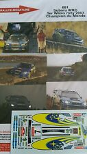 Decals promo 1/43 réf 681 Subaru WRC SOLBERG 1er Wales rally 2003 Champion
