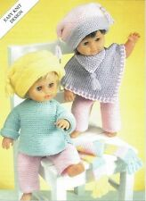 Knitting pattern, dolls clothes, poncho, sweater, hat, trousers. Christmas toy.