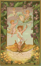 014 Antique Prang Victorian Easter card with Butterflies & Fairies - 1883