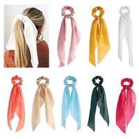 Silk Satin Bow Scrunchie Elastic Hair Ropes Ring Ponytail Holder Shads Hairband