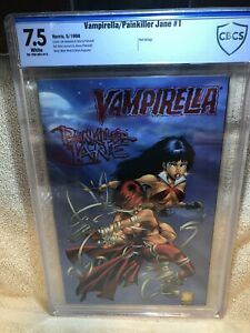 Vampirella / Painkiller Jane #1 CBCS 7.5 Harris 1998 Red Foil Cover Variant