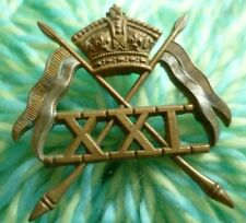 More details for victorian 21st lancers cap badge qvc bi-metal 2 lugs antique original - rare