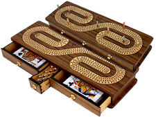 3 Tracks Alphabet S Shape Continuous Cribbage Board TeakWood/Maple with Drawers