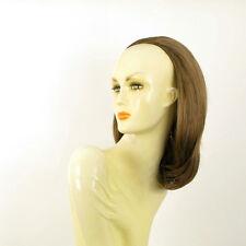 Demi-tête, demi-perruque courte lisse 40 cm châtain clair doré ref 021 en 12
