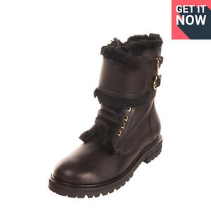 RRP €970 SALVATORE FERRAGAMO CROTONE Leather Boots EU 38 UK 5 US 7.5 Shearling
