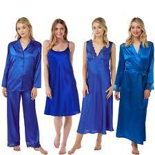 Damen Blau Lange Satin Chemise Nachthemd Bademantel Kimono Pyjama-Sets