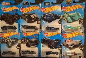 Hot Wheels Lot of 8 Batmobiles, Batman, Arkham Asylum, Justice League