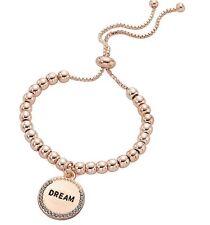 """Rose Gold """"Dream"""" Engraved Disc Charm Beaded Bracelet"""