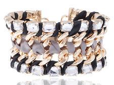 Tribal Golden Tone Twisted Braid Simple Rhinestone Accented Bracelet Bangle Cuff