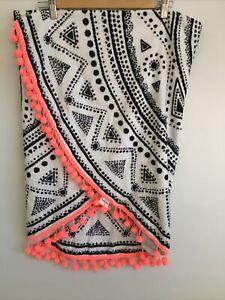 Cotton On Round Beach Towel Black & White with Orange Pom Poms 135cm