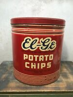 Vintage Large  Potato Chips Tin Can - EL-GE -  12 x 15  York PA