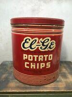 Vintage Large  Potato Chips Tin Can - EL-GE -  12 x 15  York PA