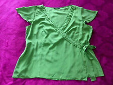 WINDSMOOR GREEN 100% SILK WRAP SUMMER PLUNGE TOP BLOUSE SIZE 18 ♡♡♡