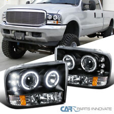For 99-04 F250 F350 F450 Super Duty Black LED Halo Projector Headlights Lamps