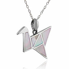 Origami Crane Necklace - 925 Sterling Silver - Mother of Pearl - Birds Gift NEW