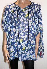 Unbranded Blue Floral Print Chiffon Kaftan Top ONE SIZE BNWT #TM119
