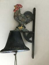 Rustic Cast Iron 14� Painted Rooster Hanging Dinner Bell W/Chain