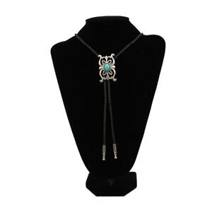 Men's Black Bolo Tie with Silver and Turquoise Western Concho Slide
