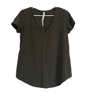 Lululemon Pima Cotton Green V Neck Size 8 Short  Sleeve Top