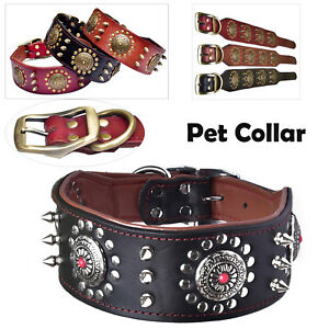 S/M/L Leather Dog Collar Studded Wide Spiked Pitbull Pet Necklace Adjustable MV