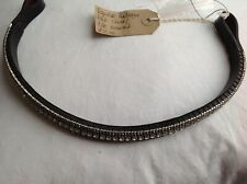 Equiture bling curved brow band - clear/blk diamond on black leather REDUCED