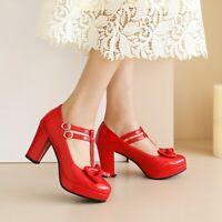 Details about  /Women Mary Jane Bowknot Cross Strap Block Heels Lolita Sweet Girl Shoes Plus sz