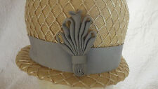 Vintage Ann Robin Tan Hat with Blue Ribbon Decoration and Ribbon Layered Caging