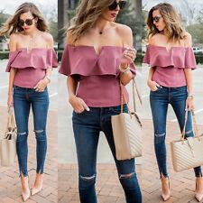 Women's Off Shoulder Tops Short Sleeve Shirt Casual Blouse Loose T-shirt S-2XL