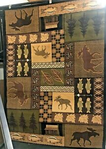 MOOSE LODGE QUILT AREA RUG FOR THE HOME MOOSE CABIN THEME NEW 5X8