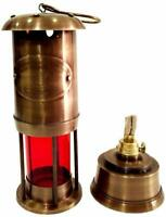 Brass Red Color Nautical 6 inches Copper Antique Miner Ship Lantern Oil Lamp