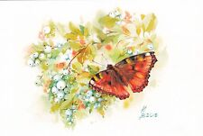 RARE Butterfly Snowberries by Petrashkevich Russian modern postcard