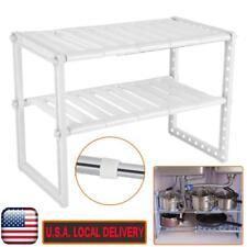 2 Tier Adjustable Under Sink Storage Shelf Expendable Cabinet Kitchen Rack Home