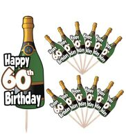 60th Birthday Champagne Party Food Cup Cake Picks Sticks Decorations Toppers