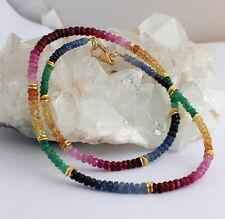 RUBIN SAPHIR SMARAGD edelsteinkette Regenbogen kette Collier rubinkette Edel Neu