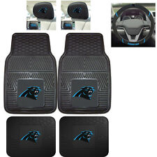 7pc NFL Carolina Panthers Heavy Duty Rubber Floor Mats & Steering Wheel Cover