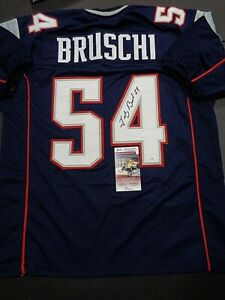 Tedy Bruschi New England Patriots Autographed Custom Blue Jersey W-Coa JSA
