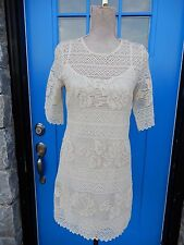 NWT Paul and Joe Sister Sz 38 FR/ 6 USA/ Beige Lace Armelle Dress Cotton Crochet