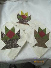 Atq 1880's 35 Quilt Blocks Basket poison green chocolate brown seaweed claret
