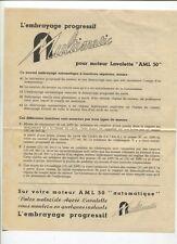 N°9934 /  prospectus technique l'embrayage multimatic pour moteur Lavalette