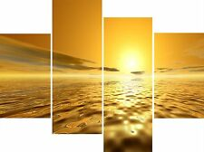 Large 4 Panel Set Wall Art Canvas Pictures Koro Golden Yellow Sea Modern Prints